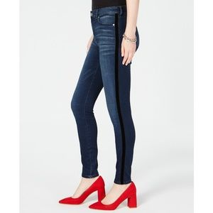 INC High-Rise Velvet-Stripe Skinny Jeans, 4